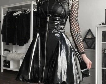 Goth Black Leather Suspender Skirt Dress, Gothic Streetwear High Waist Zipper Skirt