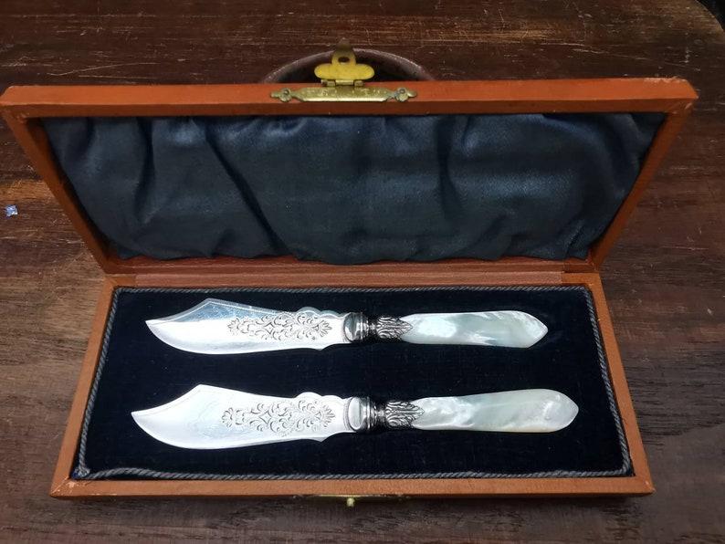 Couteaux antiques d'épandage de beurre, victorien, table de mariage, britannique, couteau de beurre, couteau de fruit, plaque d'argent, flatware unique, décor de table,