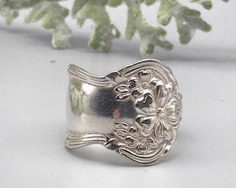 Wild Rose Ring 1968 Silverware Ring Spoon Ring Wedding Jewelry mcf  R512 Fredericksburg Silverware Spoon Ring Vintage Spoon Jewelry