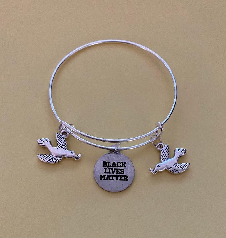 Black Lives Matter Peace Expandable Bracelet Bangle
