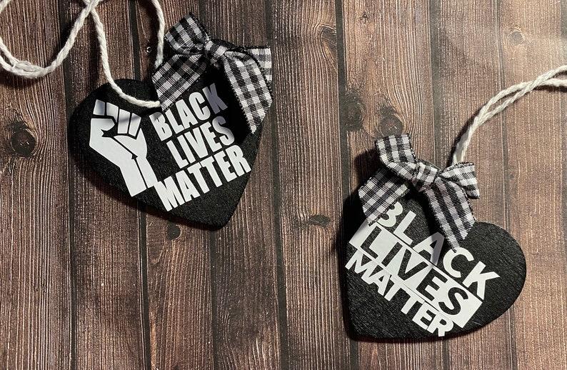 Black Lives Matter wooden ornaments 2-pack