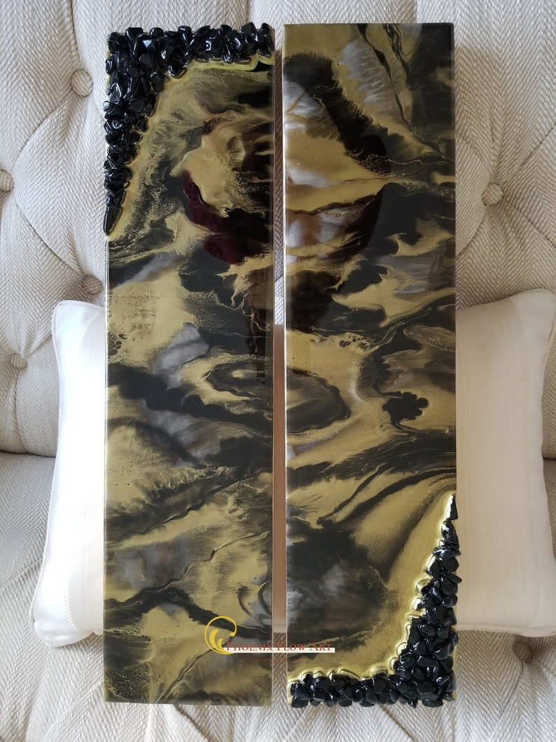 Gorgeous Black and Gold Resin Painting Diptych Artwork