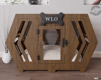 Walnut & Ivory - Hexxon Modern Dog Crate, Dog Bed, Dog Crate, Dog Kennel, Wood Dog House, Pet House, Pet Furniture, Dog Furniture