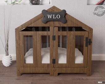 Walnut & Ivory - Gabled Modern Dog Crate, Dog Bed, Dog Crate, Dog Kennel, Wood Dog House, Pet House, Pet Furniture, Dog Furniture