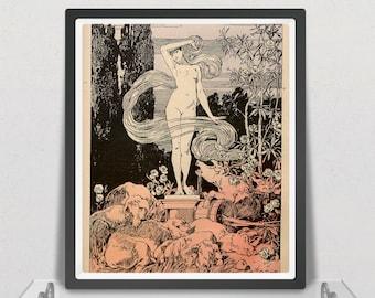 Vintage Art Nouveau print (#011) – a rare late 19th Century German 'Jugendstil' art print. A4 / A3 Poster, Home Decor, Wall Art
