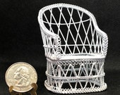 Miniature Wire Wicker Garden Chair