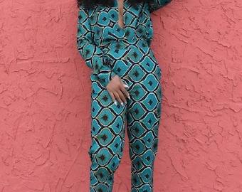 African wax tops and pants Ankara pants Ankara two piece African wax two piece African clothing 4 women African wax print African wax pants