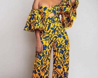 African wax jumpsuit Ankara jumpsuit Ankara romper African clothing for women African print jumpsuit Ankara design African print romper