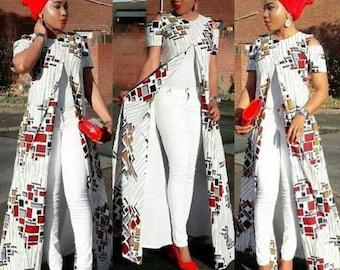 African wax top African print blouse Ankara top Ankara blouse African fashion African clothing for women Ankara long top African fashion