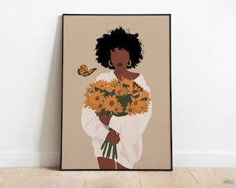 C Home Decor African American Woman Art//Canvas Print Poster Wall Art