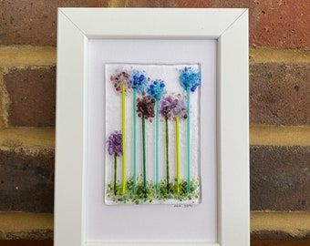 Allium flowers fused glass picture in 6x4ins frame. Birthday anniversary celebration housewarming engagement thank you nursery.