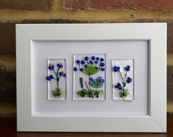 Blue flowers fused glass picture in 6x4ins frame. Birthday anniversary celebration housewarming engagement thank you retirement wedding.