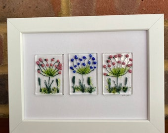 Agapanthus trio in fused glass in 5x7ins frame. Birthday anniversary celebration housewarming engagement thank you retirement wedding.
