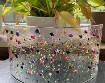 Pink purple tulip flowers-stems free standing decoration in fused glass. Birthday anniversary celebration wedding housewarming gift.