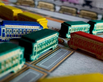 Ticket to Ride, Wooden trains cars + round marker, collector's set, custom meeple, unofficial, engraved, wood, Zug um Zug, board game, train