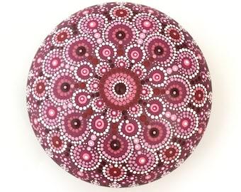 Pink mandala rock, Hand painted stones, Dot art rocks, stone painting, painting on stone, mandala art, geometric rock