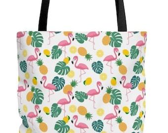 Tropical Flamingo Pineapple Tote Bag
