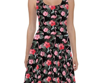 Flamingo Hibiscus Flower Skater Dress