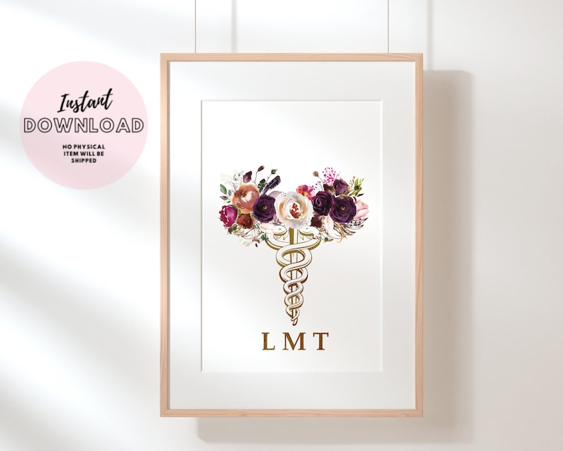 LMT Caduceus LMT Office Decor Physical Therapy Office Decor Licensed Massage Therapist Graduation Gift Massage Room