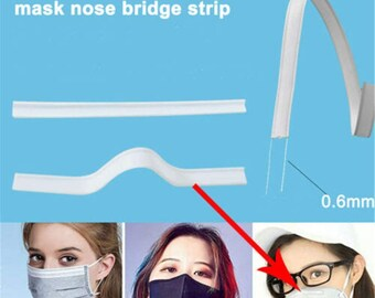 ASONA 100PCS Self-adhesive Metal Nose Wire Pieces for Face Mask Mask Making Supplies Accessories for DIY Sewing Crafts Sticky Nose Bridge Bar Straps Clips 100 Aluminum Strips with Double-sided Tape
