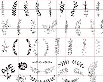 72 Hand drawn leaves SVG, Handdrawn floral svg, Leaves svg, Vector leaves, Hand drawn foliage, Hand drawn svg, Leaf svg, Leave svg #bu-2
