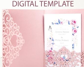 Tri Fold Wedding Invitation Template Envelope Card for Cutting, cut file for cricut, silhouette, laser cut SVG DXF PNG jpg pdf #vc-236