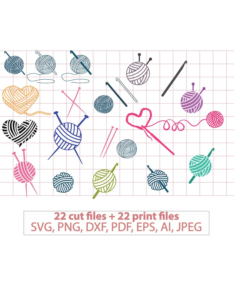Crochet svg knit svg knitting svg yarn svg yarn ball image 0