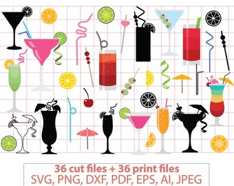 Cocktails svg, martini, alcohol svg, Cosmopolitan svg, mojito, sex on the beach, drinks, margarita, party, stencil, vinyl, cut file #vc-127