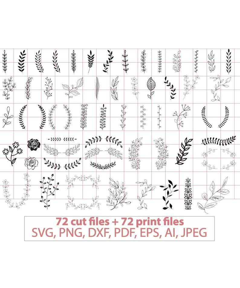 72 Hand drawn leaves SVG Handdrawn floral svg Leaves svg image 0
