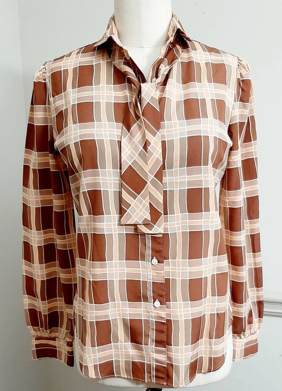 1970s The Villager Polyester Secretary Plaid Blou… - image 4