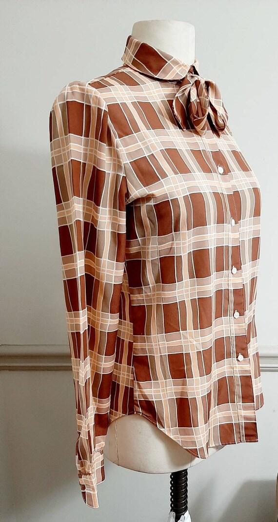 1970s The Villager Polyester Secretary Plaid Blou… - image 3