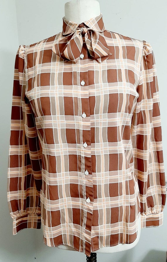 1970s The Villager Polyester Secretary Plaid Blou… - image 2