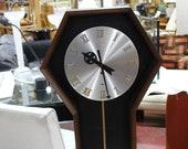Arthur Umanoff for Howard Miller Pendulum quot Coffin Clock quot circa 1970 Mid Century Modern George Nelson Era