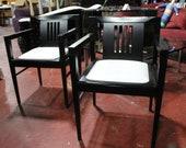 Stendig Chairs Pair Post Modern Ebonized Wood with White Faux Crocodile Skin Seats