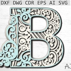 files for cricut multilayer laser file Letter B Digital File 3d letters svg laser cut file alphabet letters svg digital file download