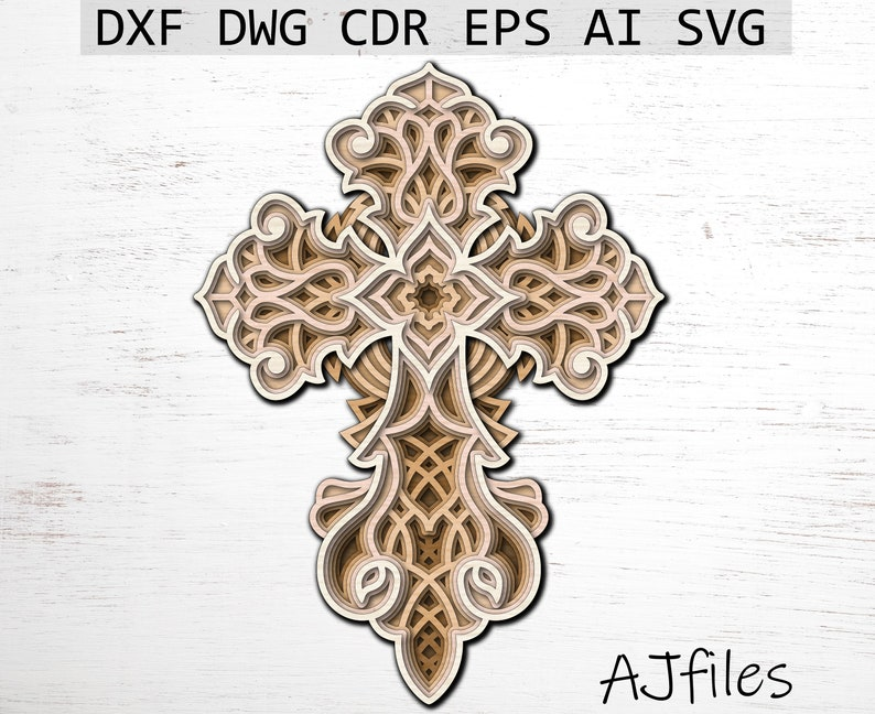 Download Cross Svg Layered cross Mandala File Mandala svg DXF   Etsy
