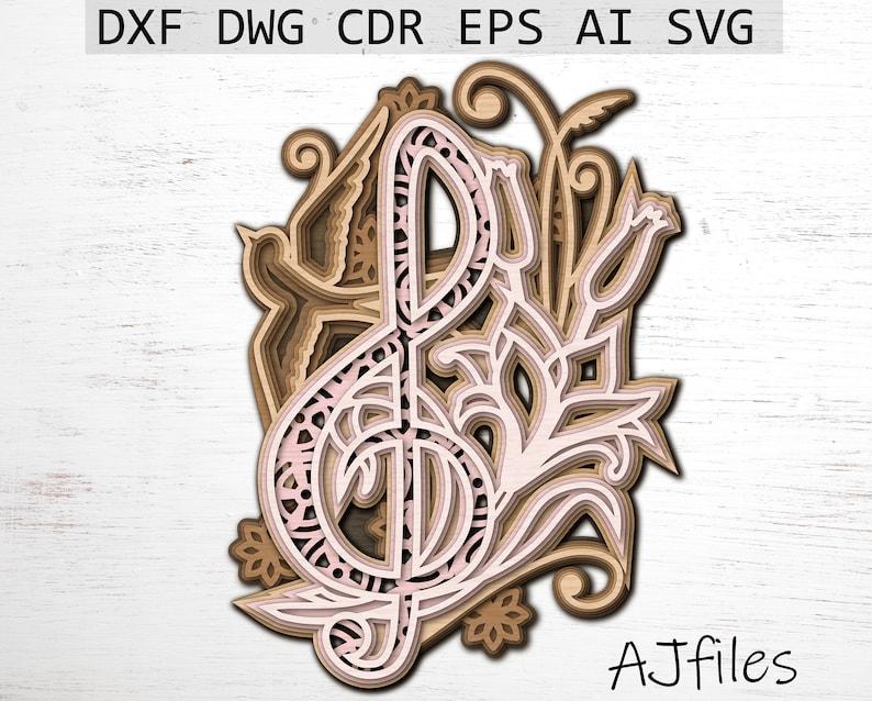 Music svg 3D Treble Clef Layered Treble Clef svg Mandala File Layered Mandala Laser Cut File Mandala svg Files for Cricut 3d