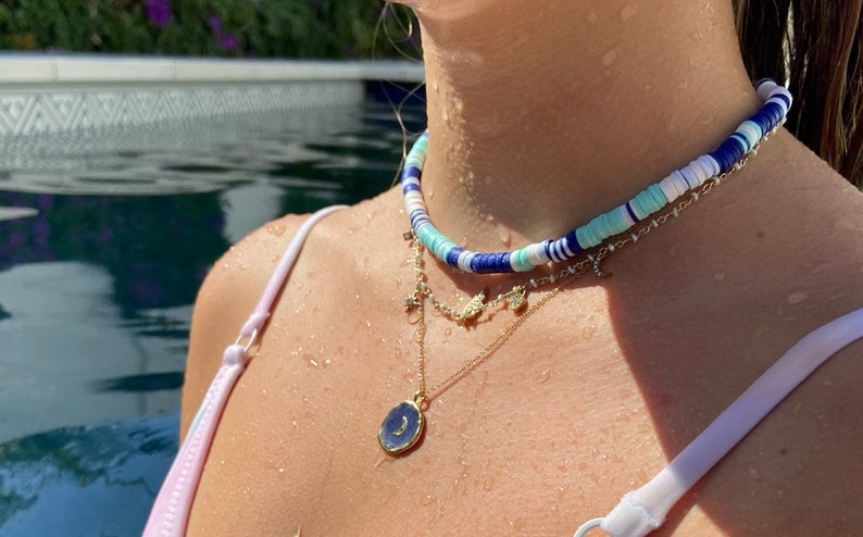 trendy choker 6mm heishi bead waterproof choker blue toned periwinkle, navy, teal, white bead necklace surfer necklace