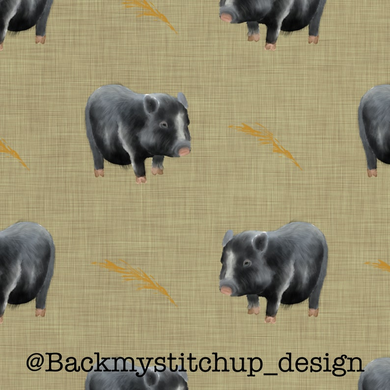 Commercial Licence Seamless Pattern Non-Exclusive Digital Download Pot bellied pigs fabric design on Beige linen-effect Surface Pattern