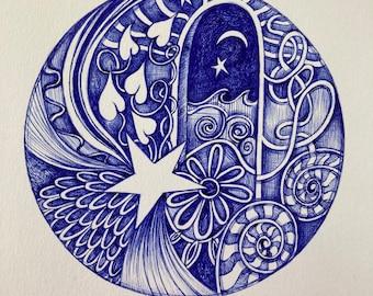 Ballpoint Pen Art The Beckoning 8x10 Art Print