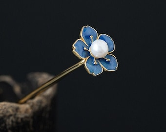 Fine blue flower hairpin s925 sterling silver plum blossom pearl hair stick