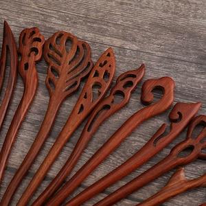 Sandalwood Hair Stick with Decorative Bead Strands.