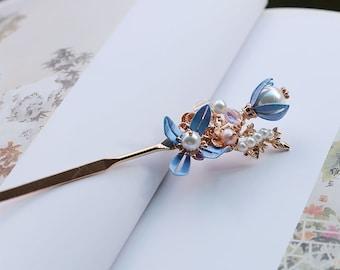 Blue silk flower copper hairpin beautiful handmade pearl hair stick