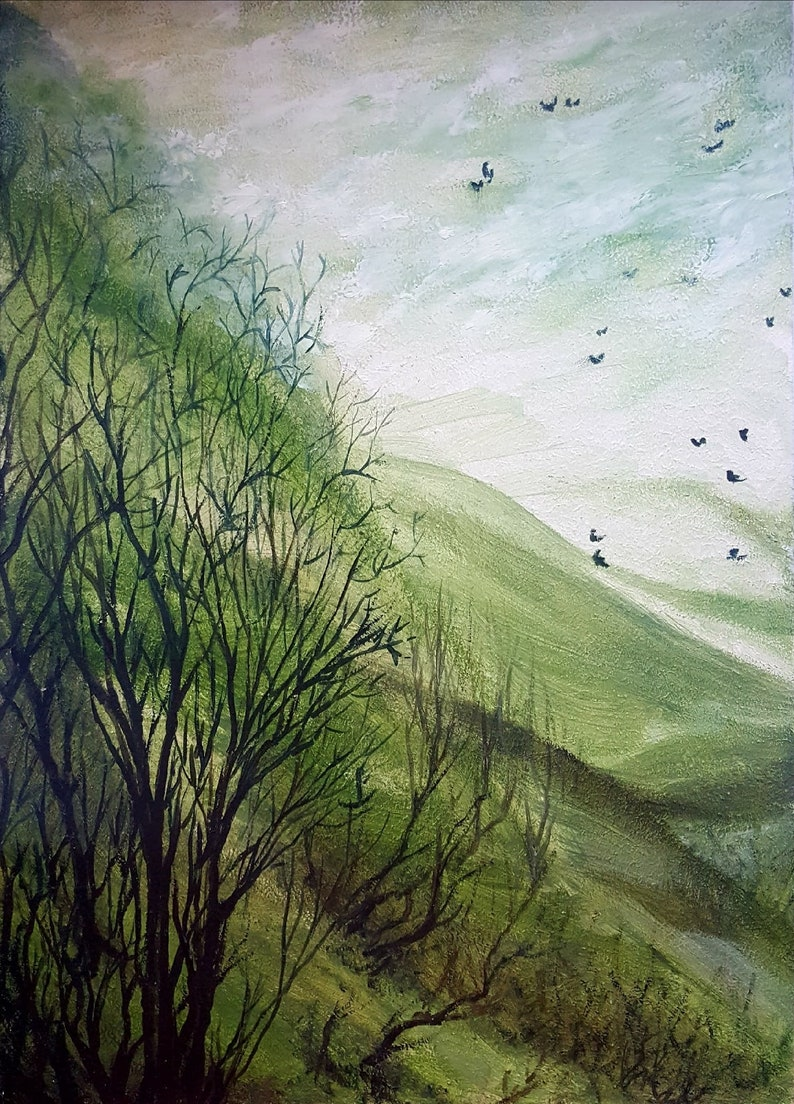 Green Forest Landscape Hardboard Paintbrush Original Oil Painting Eco StyleArt By 10 by 14/'/' by StudioOfLivePicture