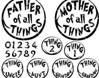 THING 1 THING 2 WALL STICKER Decal Home Decor Art Stencil Silhouette ST193