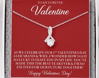 Newlywed gift from husband 1st Valentines Day as Husband and Wife 1st Valentines Day married necklace for new wife