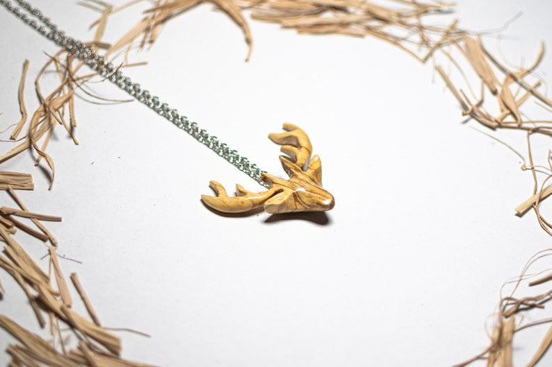 Hand Carved Wooden Deer Pendant Unisex Pendant Wood Carving Animal Necklace