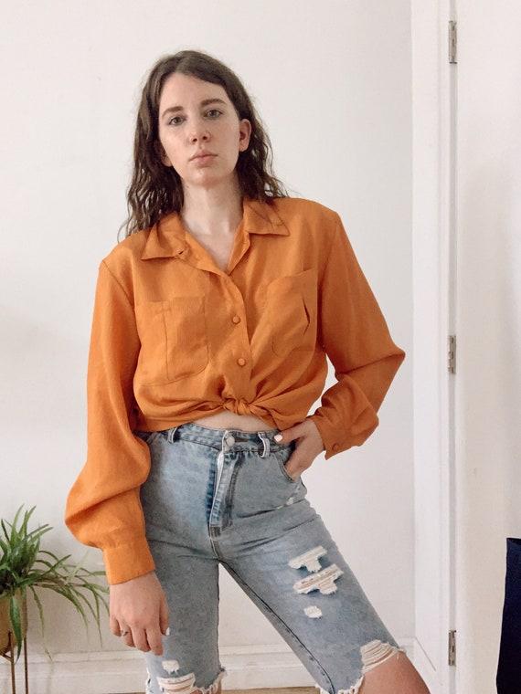 Vintage 80's Silk Blouse Orange Padded Shoulder  