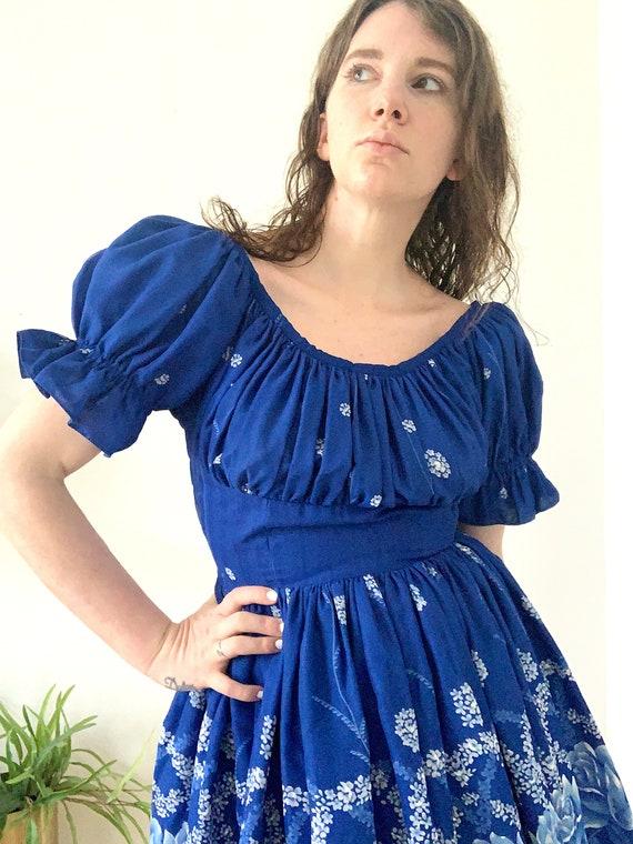 Vintage Blue Floral Puff Sleeve Dress