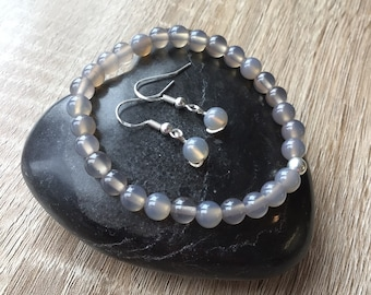 Sterling Silver and Grey Agate Gemstone Beaded Bracelet and Earrings set Minimalist design Gift Ideas Pamper Gift. Self Gift